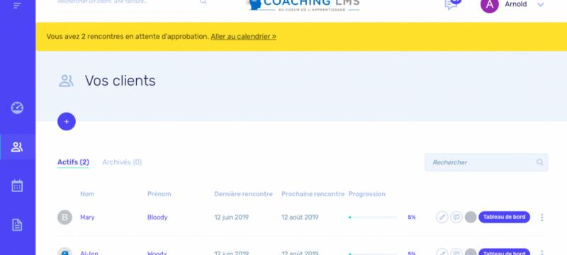 Gestion des clients des coachs